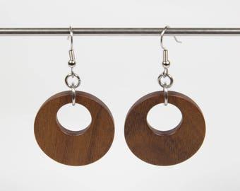 Afromosia Earrings, Wooden Hoop Earrings, Creole Earrings, Wood Earrings, Wooden Dangle Earrings, Wooden Earrings, Wooden Drop Earrings