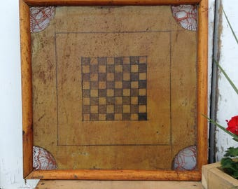 Antique Wooden Carom Checkers Game Board - Scottsdale Marketplace