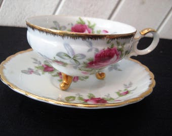 Vinatge tea cup, footed tea cup, pink roses floral tea cup, mid century, shabby cottage chic decor