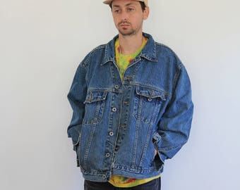 Oversized Denim Jacket Mens XL