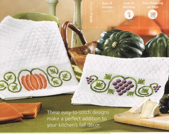 CROSS STITCH PATTERN - Pumpkin & Grapes Towel Cross Stitch Pattern - Fruit Cross Stitch Pattern - Harvest Cross Stitch Towels