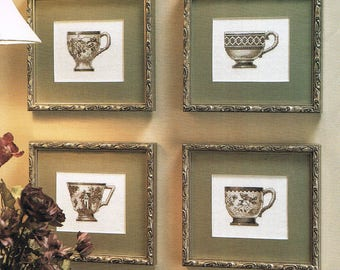 CROSS STITCH PATTERN - Tea Cup Counted Cross Stitch Patterns - English Tea Cups Cross Stitch