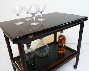 Mid Century Rosewood Bar Cart with Expandable Top and Removable Tray