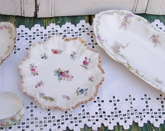 4 Serving Pieces Bavaria and Limoges Porcelain Mismatched Dishes Delicate Pink Floral Dinnerware Pieces France and Bavaria Transferware