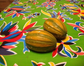Vintage old chalk ware watermelon salt and pepper shakers