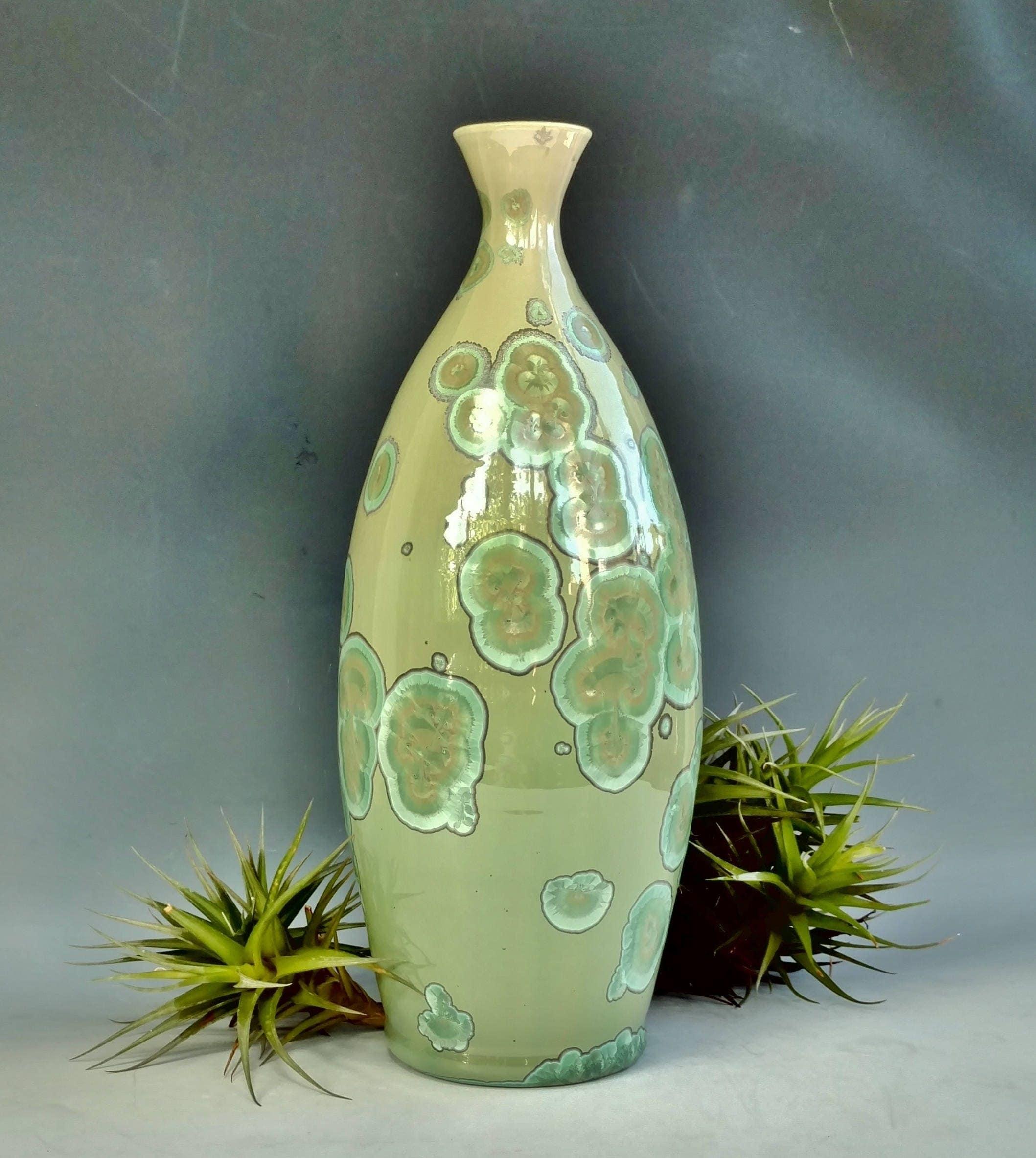 Tall ceramic vase crystalline glaze pottery large green bottle tall ceramic vase crystalline glaze pottery large green bottle bedroom bathroom kitchen home office decor handmade gift 12 tall reviewsmspy