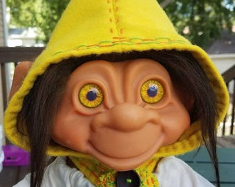 """Handmade Pixie Hood for Dam Troll 12"""" Iggy & 17"""" 806 - Yellow -Doll Not Included"""