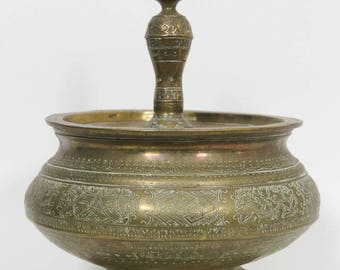 Antique Hand Tooled Brass Pot Jar Container with Lid, Indian Middle Eastern 1900s, Etched