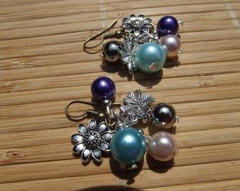 Earrings ' beads cluster for pierced ears height 4cm