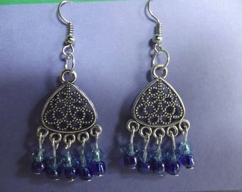 Earrings height 3 cm, Swarovski crystals and seed beads