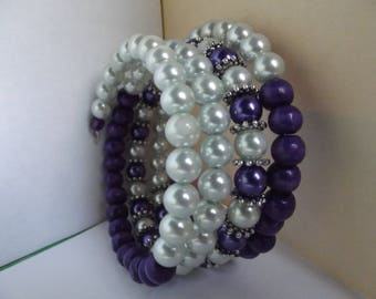 Bracelet shape memory beads 4 turns blue and white
