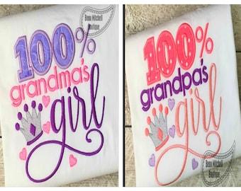 100% Grandma/Grandpa's/Papa/Nana's Girl            Onesie/Shirt