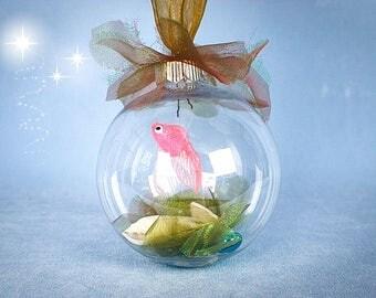 Fish Ornament, Fish Aquarium Ornament, Fish Christmas Ornament, Aquarium Christmas Ornament, Fake Aquarium, Mermaid Ornament, Beach Ornament