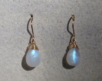 Moonstone Earrings - June Birthstone - 14 carat gold filled