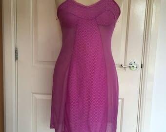 Vintage fuschia pink slip size 12-14