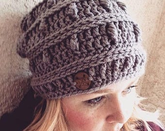 Slouchy hat crochet puff stitch hat