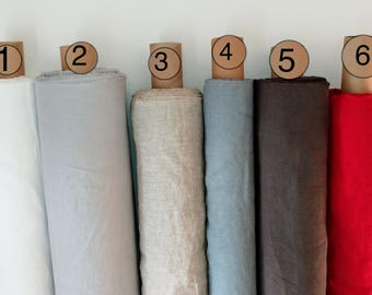 Pure 100% stone washed softened linen fabric 6 plain colours natural in 1 meters and half meters
