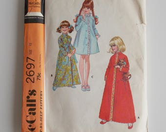 New uncut, Girl's robe pattern, size 12, McCall's 2697 vintage sewing pattern, child's and girl's robe in three versions, raglan sleeve.