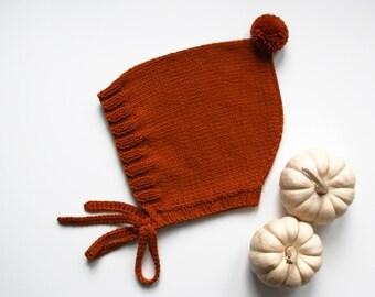 MILA Winter Fall Pumpkin Knit Pixie Bonnet Hat, Baby Bonnet Hat,Cotton- Merino,Pom Pom Hat, Size 0-3,3-6,6-12,12-2424-36 months