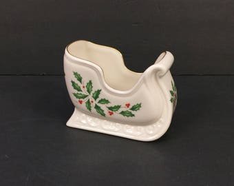 Lenox Holiday Pattern Sleigh Dish; Holly, Berries, Red Ribbon; Fine China; Christmas
