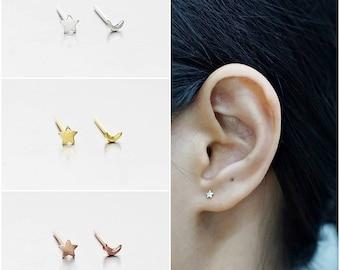 925 Sterling Silver Earrings, Tiny Star Moon Earrings, Gold Plated, Rose Gold Plated Earrings, Stud Earrings, Size 3 mm (Code : KE49Z)