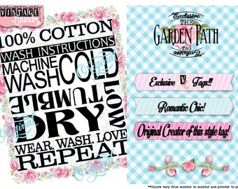 Garden Path-Care Instruction Tags-PNG JPG Download File-Wash Instructions Tag-Label-Garmet Tags-Labels-Clothes Clothing Tags-Sew In Tag