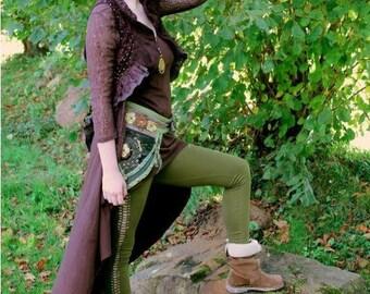 LEGGINGS green LONG AJOURE BRAID style PSY TRANCE