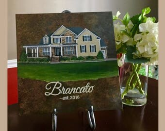 Personalized House Portrait on Tile//Housewarming Gift//Realtor Closing Gift// House Painting on Tile//First Home