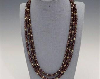 Burgundy Garnet and Gold Necklace