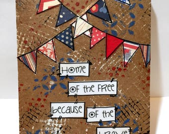 Home of the Free because of the brave,  Wall Art, Red, White and Blue Banners, Patriotic Decor, USA