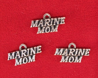 "BULK! 15pc ""Marine mom"" charms in silver style (BC1176B)"