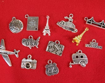 """SET! 13pc """"travel"""" deluxe charms set in antique silver style (set travel)"""
