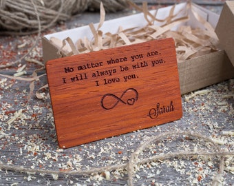 Wood Wallet Insert Card, Jarrah Custom Engraved Insert card, Personalized Wooden infinity love insert card, boyfriend gift, wood wedding tag