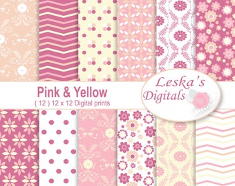 Pink and Yellow Digital Paper, Scrapbooking Paper, Pink and yellow patterned paper, Digital scrapbook paper, baby girl background