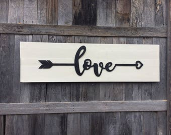 Love arrow wooden sign, black and white shiplap sign, housewarming, wedding gift, bedroom sign, boho sign, tribal arrow, rustic arrow