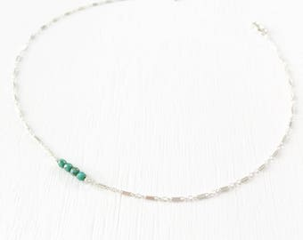 The Delicacy Choker - sterling silver and Czech glass beaded choker.