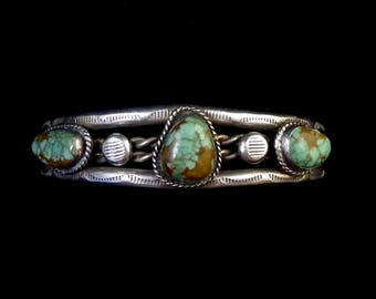 36g Vintage Navajo Sterling Silver Cuff Bracelet w  3 Wonderful Royston Turquoise Stones! Roped Silver! Stamped Raindrops!