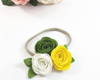 Olive Headband, cream headband, yellow Headband, Fall Headband, navy Headband, felt Headband,  birthday headband, flower girl headband