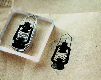 Lantern Rubber Stamp - 3x2 Inches - Camping Stamp - Light Stamp