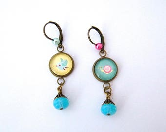 Earrings sleepers, dangling earrings, glass, brass, pearl beads