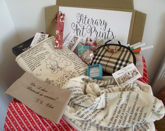 Literary Box Edgar Allan Poe Annabel Book Scarf Poem Alice in Wonderland Book Sleeve Quote Headband Christmas Gifts for Bookish Book Lovers