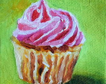 Original Miniature Painting, Impressionist Vanilla Cupcake, Strawberry Frosting, Cute Painting 2.5x2.5 Inch