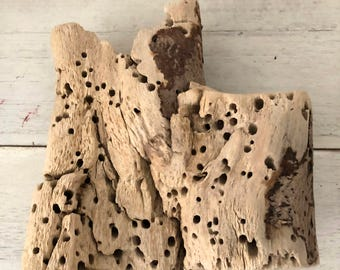 Driftwood with Layers & Patterns: Driftwood Art, Beach Decor, Mermaid Party, Arts and Crafts, Shabby Lake Cottage Decor.