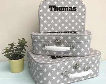 Personalised Retro Star Suitcase Storage Box Trio Kids Storage Nursery Toy Box Scandi Style
