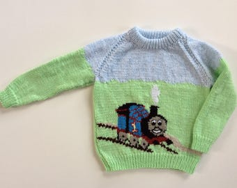 Hand Knitted Thomas the Train Sweater, hand knit toddler child sweater, baby knitwear