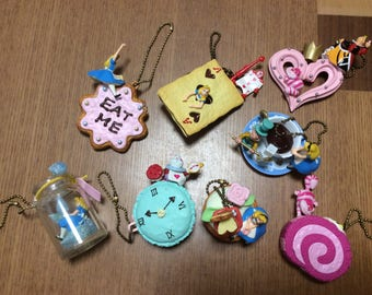 Kawaii Alice in wonderland figure charms.Select one.Eat me Drink me Queen of Heart White rabbit Tea party Cheshire cat