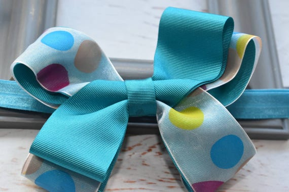 Turquoise Polka Dot Bow - Baby / Toddler / Girls / Kids Headband / Hairband / Hair bow / Barrette / Hairclip