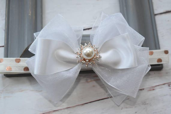 White and gold christening bow - Baby / Toddler / Girls / Kids Elastic Hairclip / Hair Barrette / Hairband / Headband