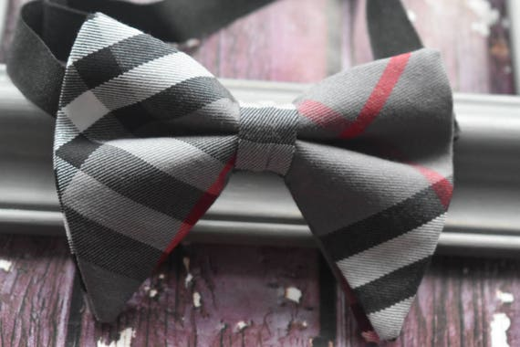 Festive Grey and red tartan / plaid floppy / butterfly bow tie  for Baby, Toddlers and Boys (Kids Bow Ties) with Braces/ Suspender