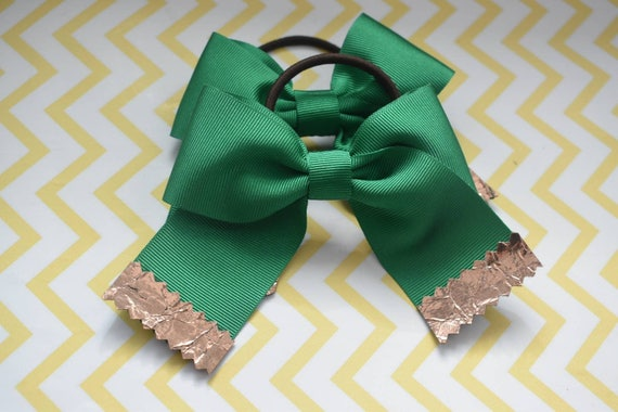 Pair of green and bronze hair ties - Kids / Toddlers / Girl pony tail holders / scrunchies